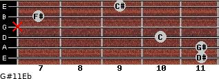G#11/Eb for guitar on frets 11, 11, 10, x, 7, 9