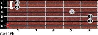 G#11/Eb for guitar on frets x, 6, 6, 5, 2, 2