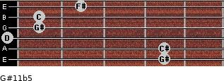 G#11b5 for guitar on frets 4, 4, 0, 1, 1, 2
