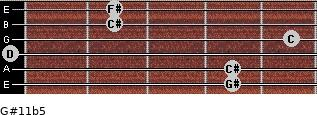 G#11b5 for guitar on frets 4, 4, 0, 5, 2, 2