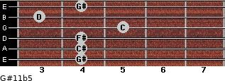 G#11b5 for guitar on frets 4, 4, 4, 5, 3, 4