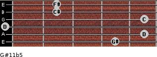 G#11b5 for guitar on frets 4, 5, 0, 5, 2, 2