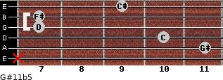 G#11b5 for guitar on frets x, 11, 10, 7, 7, 9