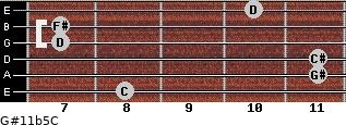 G#11b5/C for guitar on frets 8, 11, 11, 7, 7, 10