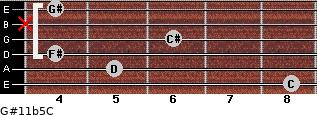 G#11b5/C for guitar on frets 8, 5, 4, 6, x, 4