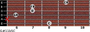 G#11b5/C for guitar on frets 8, x, 6, 7, 7, 9