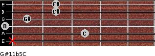 G#11b5/C for guitar on frets x, 3, 0, 1, 2, 2