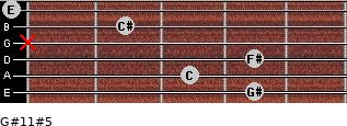 G#11#5 for guitar on frets 4, 3, 4, x, 2, 0