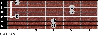 G#11#5 for guitar on frets 4, 4, 2, 5, 5, 2