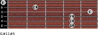 G#11#5 for guitar on frets 4, 4, 4, 5, 2, 0