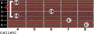 G#11#5/C for guitar on frets 8, 7, 4, 6, x, 4