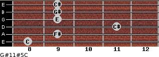 G#11#5/C for guitar on frets 8, 9, 11, 9, 9, 9