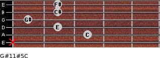 G#11#5/C for guitar on frets x, 3, 2, 1, 2, 2