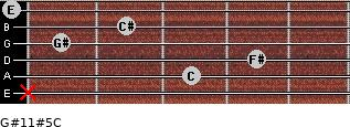 G#11#5/C for guitar on frets x, 3, 4, 1, 2, 0