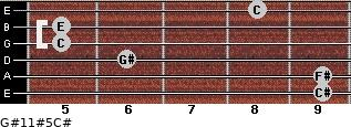 G#11#5/C# for guitar on frets 9, 9, 6, 5, 5, 8