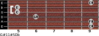 G#11#5/Db for guitar on frets 9, 9, 6, 5, 5, 9