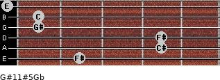 G#11#5/Gb for guitar on frets 2, 4, 4, 1, 1, 0