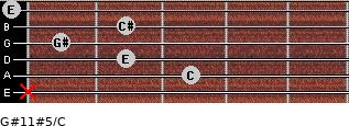G#11#5/C for guitar on frets x, 3, 2, 1, 2, 0