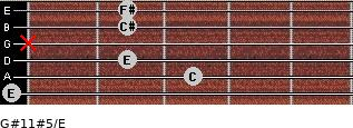 G#11#5/E for guitar on frets 0, 3, 2, x, 2, 2