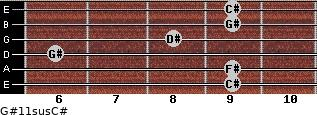 G#11sus/C# for guitar on frets 9, 9, 6, 8, 9, 9