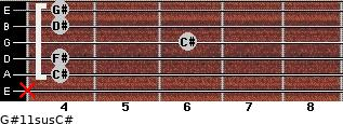 G#11sus/C# for guitar on frets x, 4, 4, 6, 4, 4