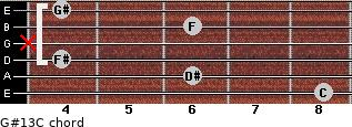 G#13/C for guitar on frets 8, 6, 4, x, 6, 4