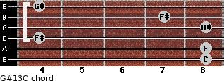 G#13/C for guitar on frets 8, 8, 4, 8, 7, 4
