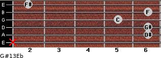 G#13/Eb for guitar on frets x, 6, 6, 5, 6, 2
