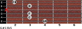 G#13b5 for guitar on frets 4, 3, 3, x, 3, 2