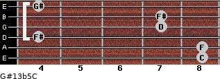 G#13b5/C for guitar on frets 8, 8, 4, 7, 7, 4
