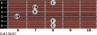 G#13b5/C for guitar on frets 8, 8, 6, 7, 7, 8