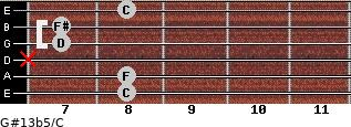 G#13b5/C for guitar on frets 8, 8, x, 7, 7, 8