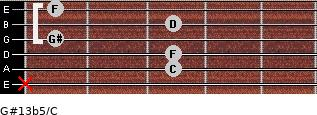 G#13b5/C for guitar on frets x, 3, 3, 1, 3, 1