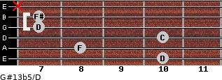 G#13b5/D for guitar on frets 10, 8, 10, 7, 7, x
