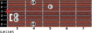 G#13#5 for guitar on frets 4, 3, 3, x, 5, 4