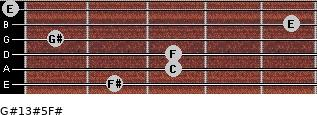G#13#5/F# for guitar on frets 2, 3, 3, 1, 5, 0