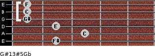 G#13#5/Gb for guitar on frets 2, 3, 2, 1, 1, 1