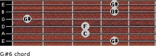 G#6 for guitar on frets 4, 3, 3, 1, 4, 4