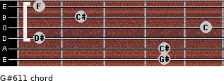 G#6/11 for guitar on frets 4, 4, 1, 5, 2, 1