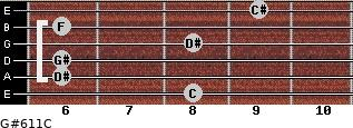 G#6/11/C for guitar on frets 8, 6, 6, 8, 6, 9