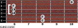 G#6/11b5/C for guitar on frets 8, 8, 6, 6, 6, 10