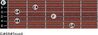 G#6/9#5sus4 for guitar on frets 4, 1, 3, 1, 2, 0