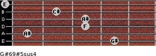 G#6/9#5sus4 for guitar on frets 4, 1, 3, 3, 2, 0