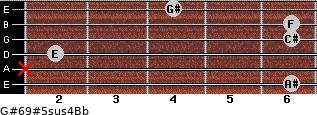 G#6/9#5sus4/Bb for guitar on frets 6, x, 2, 6, 6, 4