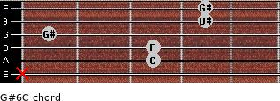 G#6/C for guitar on frets x, 3, 3, 1, 4, 4