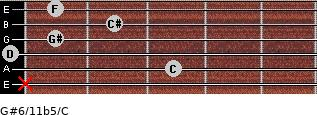 G#6/11b5/C for guitar on frets x, 3, 0, 1, 2, 1