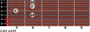 G#6(add9) for guitar on frets x, x, 6, 5, 6, 6