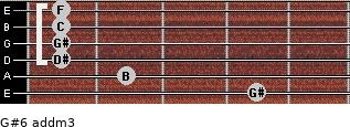 G#6 add(m3) for guitar on frets 4, 2, 1, 1, 1, 1