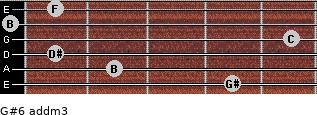 G#6 add(m3) for guitar on frets 4, 2, 1, 5, 0, 1