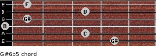 G#6b5 for guitar on frets 4, 3, 0, 1, 3, 1
